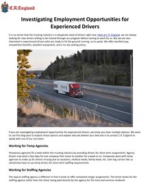 Investigating Employment Opportunities for Experienced Drivers