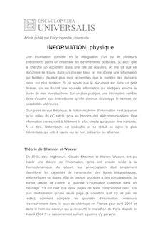 Définition de : INFORMATION, physique - ETIENNE KLEIN 2