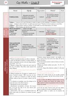 Mathématiques CP / CE1 – Cap Maths, période 4 (unités 9 et 10) - Unité 9 – CP Unité 9 Préparation des séances