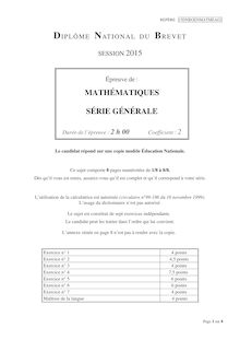 Brevet 2015 : sujet de maths