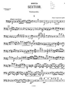 Partition violoncelle, Piano Sextet, Op.63, Sextet for Piano & Strings in B♭ minor, Op.63