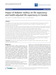 Impact of diabetes mellitus on life expectancy and health-adjusted life expectancy in Canada