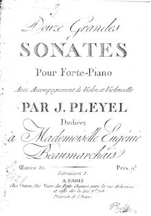 Partition parties complètes, 3 Trio sonates, 3 Trios for Keyboard, Violin and Cello ; 3 Grand Sonatas for piano with accompaniment of violin and cello, Op.31