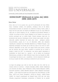 GONCOURT (Edmond et Jules de) 1822-1896 1830-1870 -