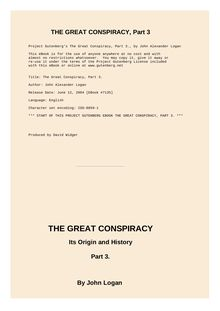 The Great Conspiracy, Volume 3