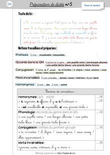 Orthographe / Grammaire / Vocabulaire CE1 – Préparations de dictées et leçons - Préparations de dictées n°5