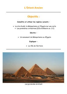 Chapitre sur l'Orient Ancien : étude de la Mésopotamie et de l'Egypte - 6e