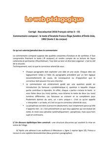 Baccalauréat Français 2016 - Séries ES - S - Commentaire