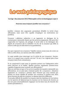 Baccalauréat Philosophie 2016 - Séries technologiques - Sujet 2