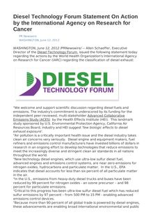 Diesel Technology Forum Statement On Action by the International Agency on Research for Cancer