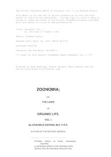 Zoonomia, Vol. I - Or, the Laws of Organic Life