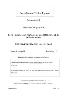 Baccalaureat Techno Histoire Geographie 2019 (STHR)