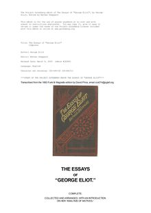 "The Essays of ""George Eliot"" - Complete"