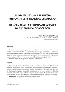 Julián Marías. Una Respuesta Responsable Al Problema del Aborto (Julián Marías. A Responsable Answer to the Problem of Abortion)