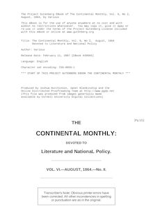 The Continental Monthly, Vol. 6, No 2,  August, 1864 - Devoted to Literature and National Policy