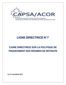 French Pension Plan Funding Policy Guideline