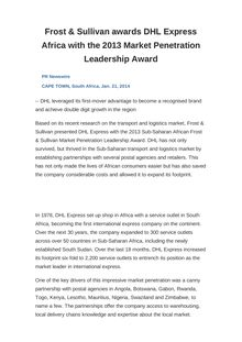 Frost & Sullivan awards DHL Express Africa with the 2013 Market Penetration Leadership Award