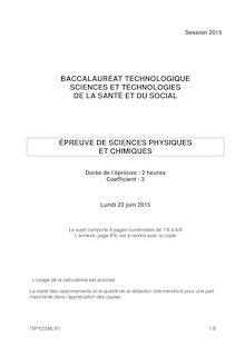 Bac 2015 - Sciences physiques et chimiques - ST2S