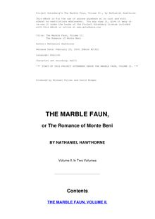 The Marble Faun - Volume 2 - The Romance of Monte Beni
