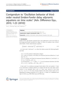"Corrigendum to ""Oscillation behavior of third-order neutral Emden-Fowler delay xdynamic equations on time scales"" [Adv. Difference Equ., 2010, 1-23 (2010)]"