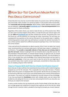 How Self-Test Can Plays Major Part to Pass Oracle Certification?