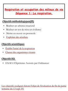 Cours SVT 5e sur la Respiration et occupation des milieux de vie