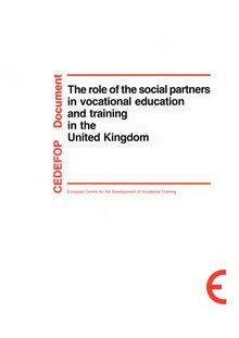 The role of the social partners in vocational education and training in the United Kingdom