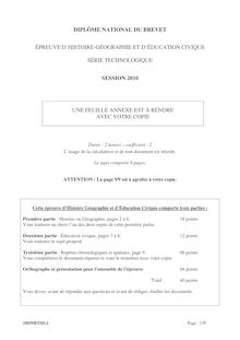Brevet 2010 Techno Histoire Geographie