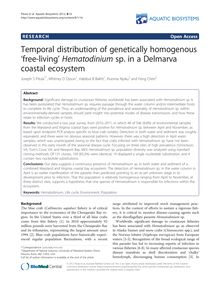 Temporal distribution of genetically homogenous 'free-living' Hematodinium sp. in a Delmarva coastal ecosystem