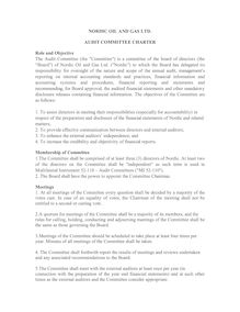 NORDIC AUDIT COMMITTEE CHARTER-1