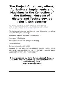 Agricultural Implements and Machines in the Collection of the National Museum of History and Technology - Smithsonian Studies in History and Technology, No. 17