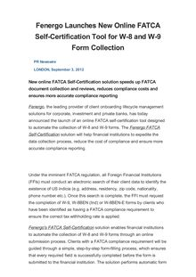 Fenergo Launches New Online FATCA Self-Certification Tool for W-8 and W-9 Form Collection