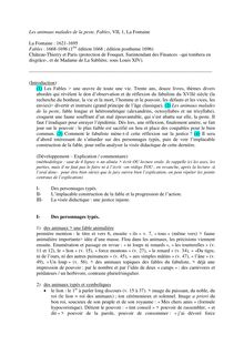 Analyse complète - Les Animaux Malades de la Peste