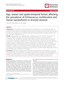 Age, season and spatio-temporal factors affecting the prevalence of Echinococcus multilocularisand Taenia taeniaeformisin Arvicola terrestris