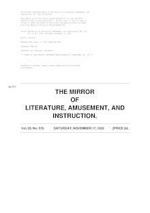 The Mirror of Literature, Amusement, and Instruction - Volume 20, No. 576, November 17, 1832