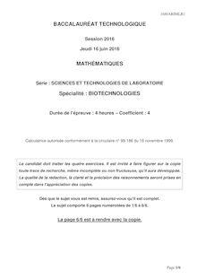 Baccalauréat Biologie-Mathématiques 2016 - Série STL