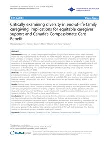Critically examining diversity in end-of-life family caregiving: implications for equitable caregiver support and Canada's Compassionate Care Benefit