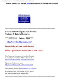 October 2004 Newsletter for Computer IT Education, Training & Tutorial  Resources
