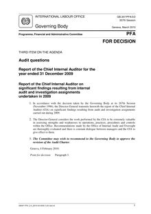 Audit questions - Report of the Chief Internal Auditor for the year  ended 31 December 2009