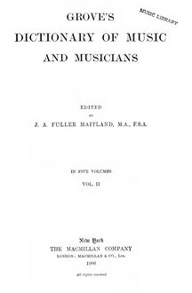 Partition Volume 2 (F - L), Dictionary of Music et Musicians, Grove, George
