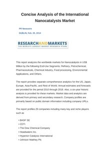 Concise Analysis of the International Nanocatalysts Market
