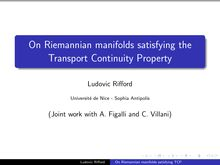 On Riemannian manifolds satisfying the Transport Continuity Property