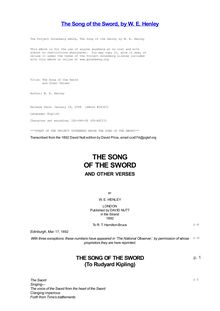 The Song of the Sword - and Other Verses