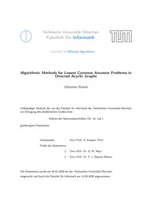 Algorithmic methods for lowest common ancestor problems in directed acyclic graphs [Elektronische Ressource] / Johannes Nowak