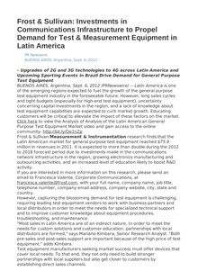Frost & Sullivan: Investments in Communications Infrastructure to Propel Demand for Test & Measurement Equipment in Latin America