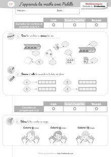 Mathématiques CP – J'apprends les maths avec Picbille - Evaluation Picbille Période 1