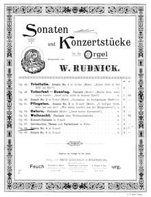 Partition complète, orgue Sonata No.4 en G minor, G minor, Rudnick, Wilhelm