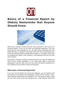 Basics of a Financial Report by Oleksiy Nesterenko