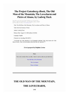 The Old Man of the Mountain, The Lovecharm and Pietro of Abano - Tales from the German of Tieck