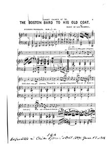 Partition , pour Boston Bard to his Old Coat., Sunset Chimes, 12 Songs for Voice with Piano or Organ